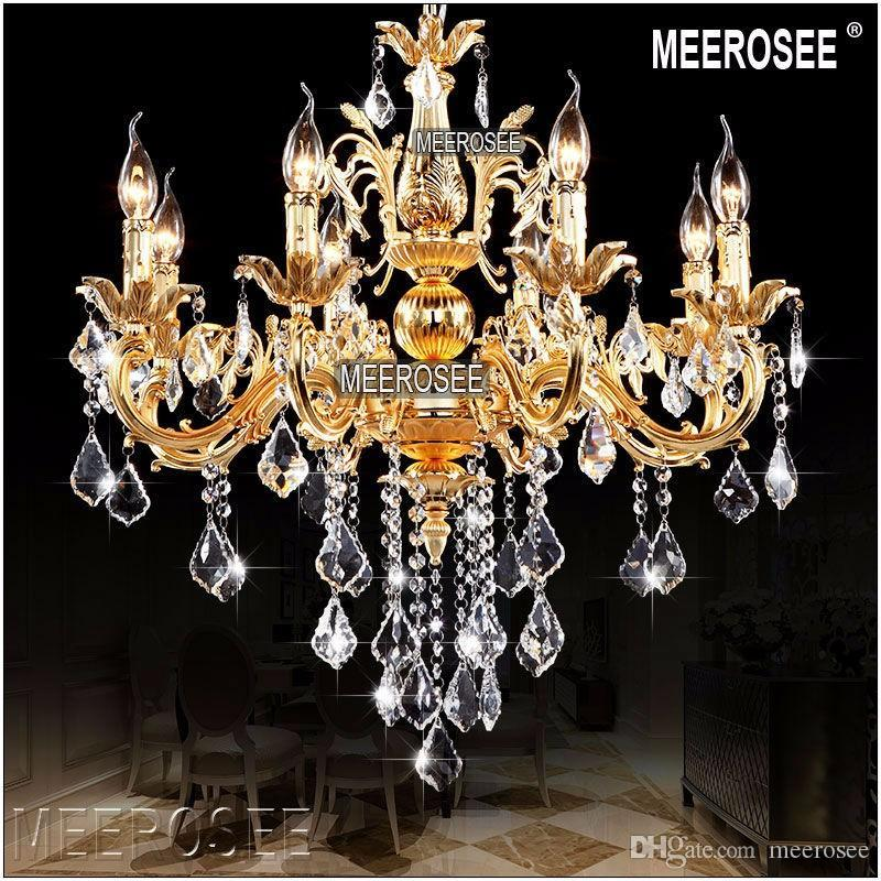 Modern 8 Arms Crystal Light Fixture Classic Chandelier Lighting Lustre Pendant Hanging Lamp Gold or Silver Cristal Lamp for Hallway MD8861