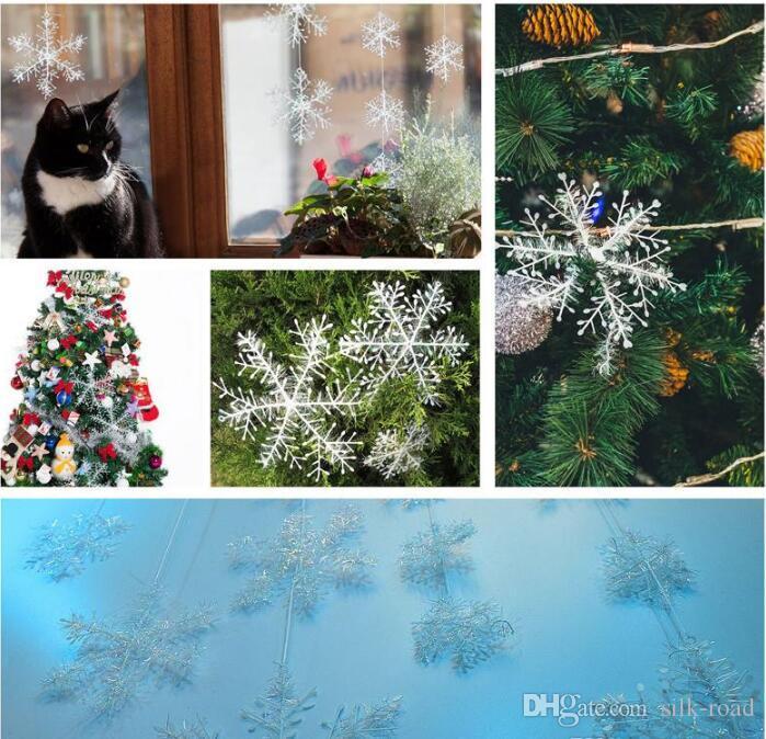 الأبيض ندفة الثلج زينة معلقة ندفة الثلج عيد الميلاد شجرة زينة للمنزل Weddding حزب 6PCS مع نافذة ملصقا DHL الشحن المجاني