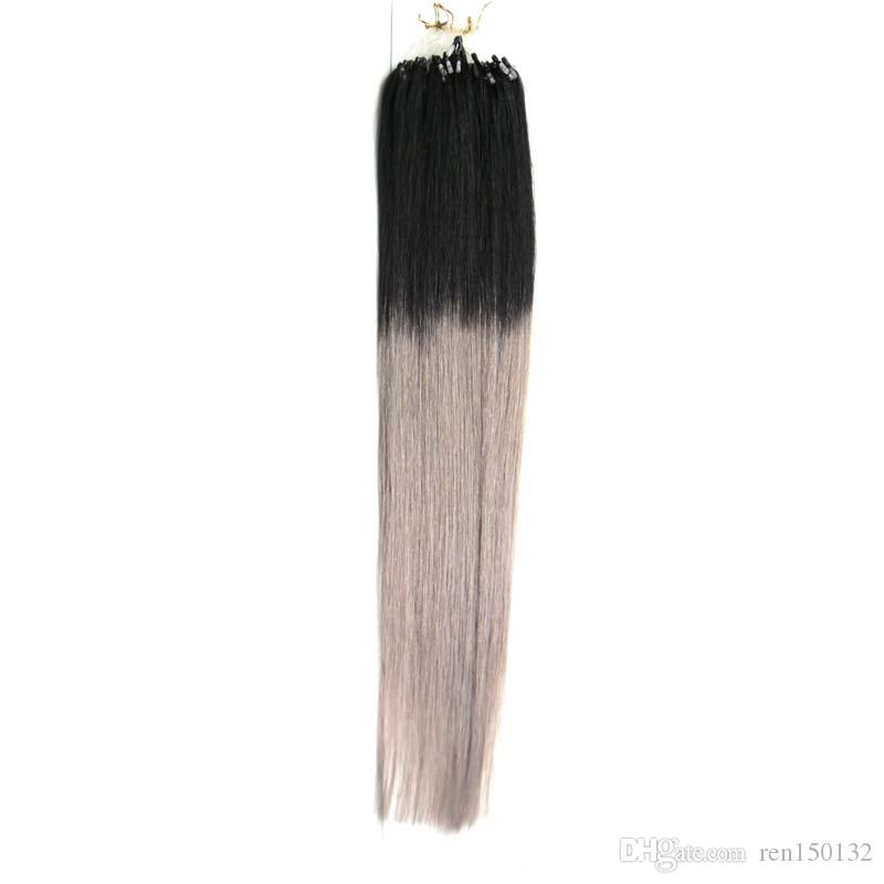 "14"" 16"" 18""20""22""24"" Micro Ring Loop Human Hair Extension 100% Human Hair Straight Ombre Piano Color Micro Links 100g 100s"