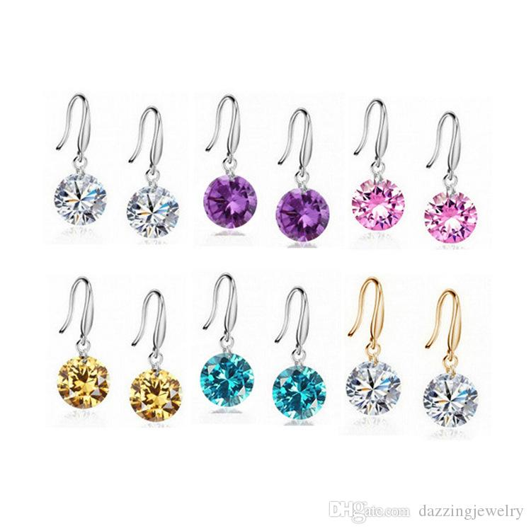 12 Colors 8mm Round Crystal Sapphire Ruby Blue Black Stones CZ Birthstones Family Mother's Heart hook silver dangle earrings