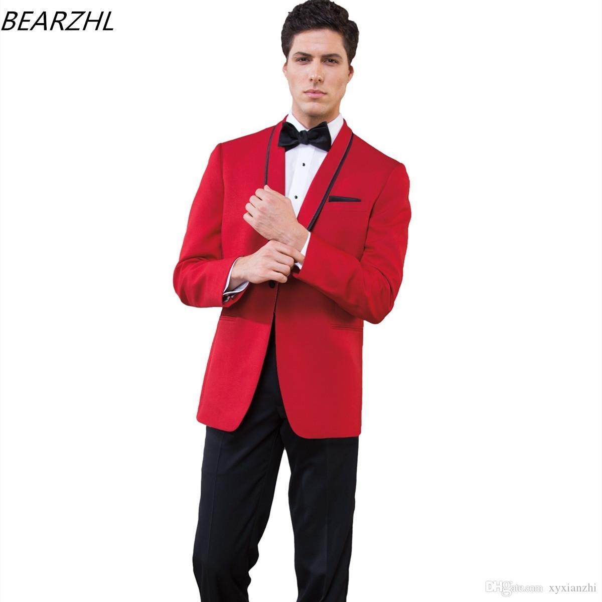 Damat Düğün Smokin Suits Resmi Giyim için 2021 Custom Made Suit Akşam Yemeği Erkekler Kırmızı