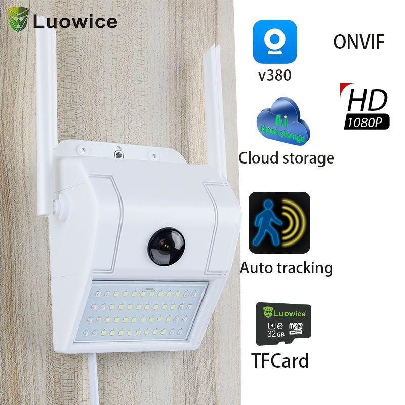 WiFi 1080p Cámara IP Cámaras de vigilancia inalámbrica Cámaras de pared al aire libre Luz de Webcam Network Security Cam PIR Sensor de detección de movimiento