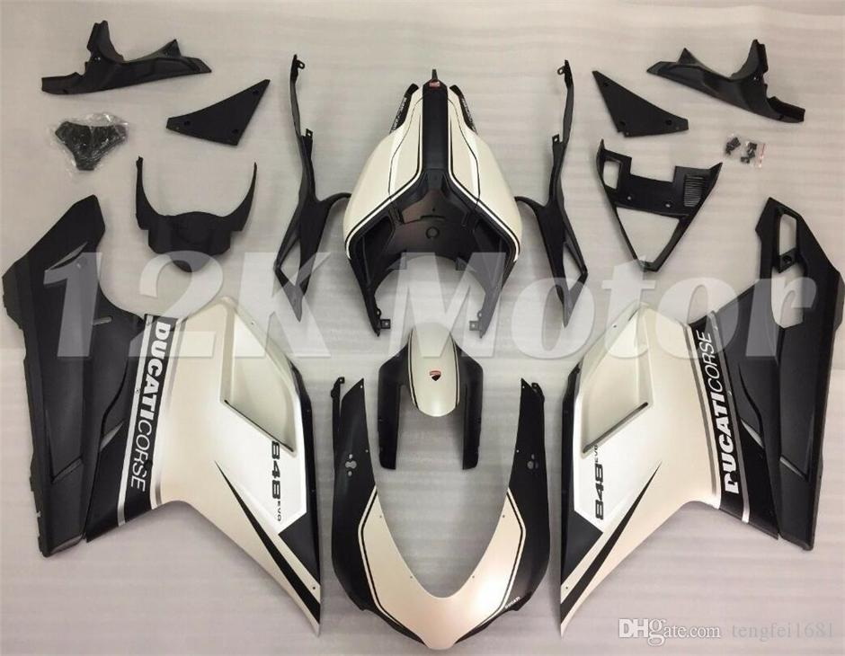المبيعات الساخنة الجديدة ABS دراجة نارية Fairces Kit ل Ducati 848 1098 1198 2007 2008 2008 2009 2011 2012 2012 مخصص لؤلؤة أبيض أسود ماتي