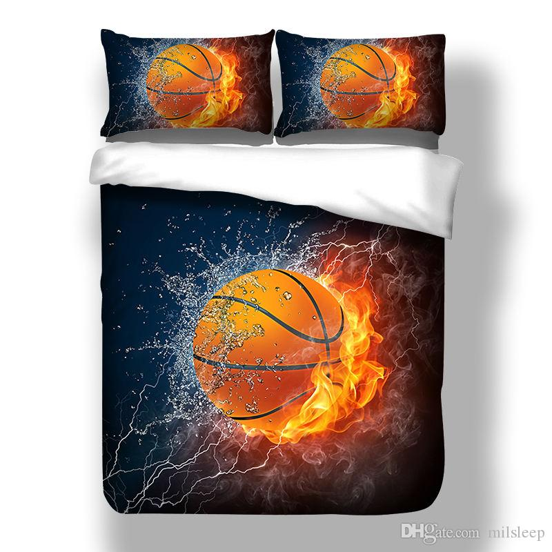 Juego de cama 3D Juegos de fundas de baloncesto y funda nórdica de fuego Funda de cama de fútbol de tamaño único Ropa de cama de gran tamaño Juego de cama de China