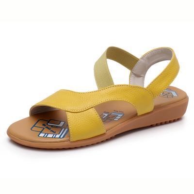 Cuero genuino de la vaca sandalias de las mujeres sandalias de tacón plano Moda de verano zapatos casuales Mujer Slip-on sandalias de verano más el tamaño 34-43