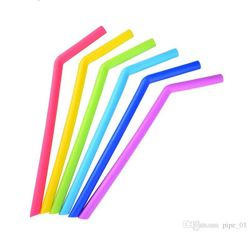 Bardaklar için renkli silikon çubuklar gıda sınıfı için 25 cm silikon düz bükülmüş çubuklar bar ev içme payet