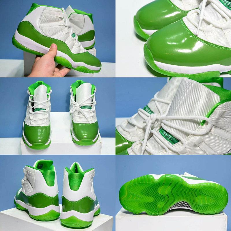 Zapatos 11S Verde Blanco baloncesto de los hombres de alta calidad XI 11 manzana verde al aire libre entrenadores deportivos zapatillas de deporte de los zapatos Tamaño 7-13