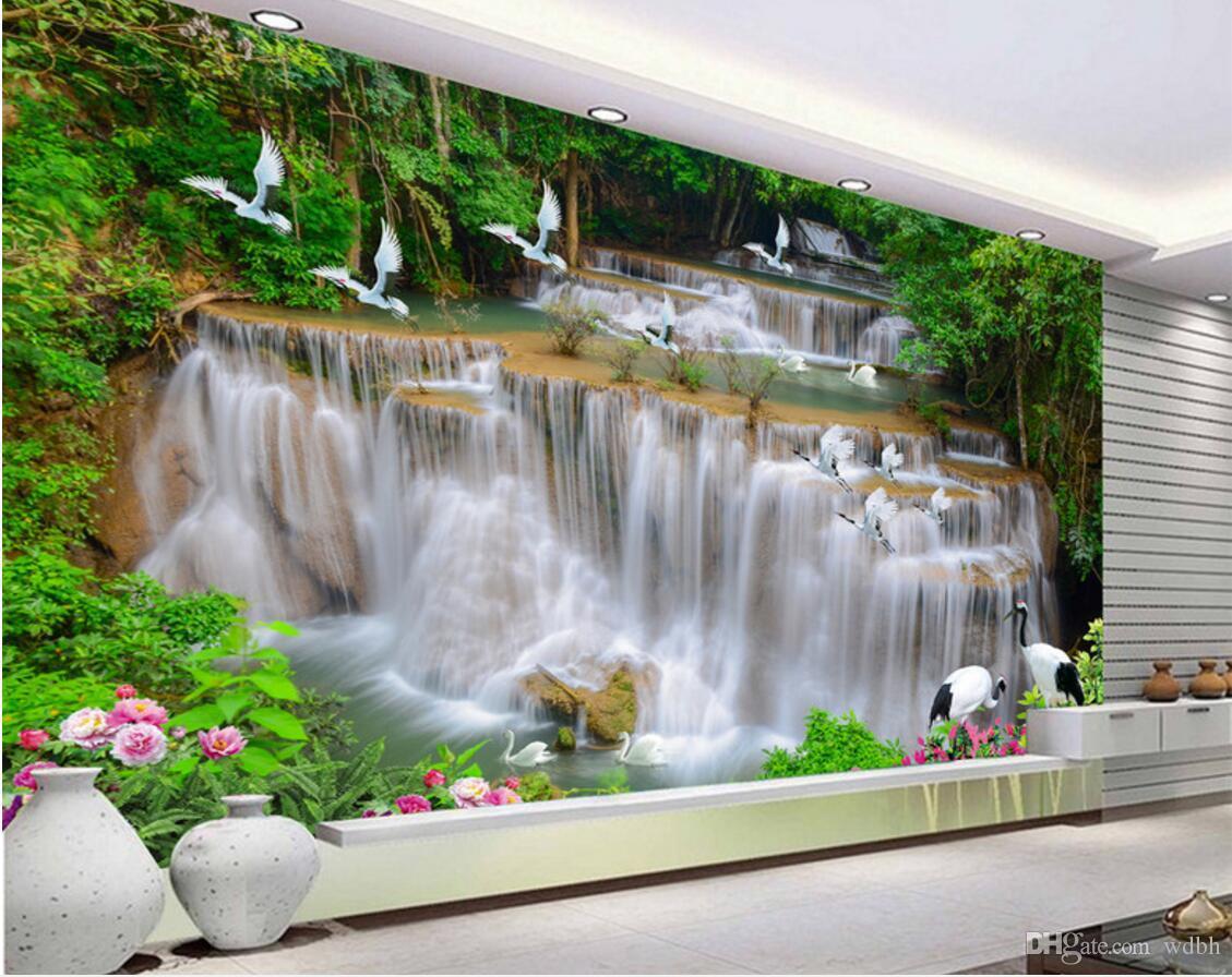 WDBH 3d обои на заказ фото водопад река лес белый журавль фон гостиная домашний декор 3d стены муалы обои для стен 3 d