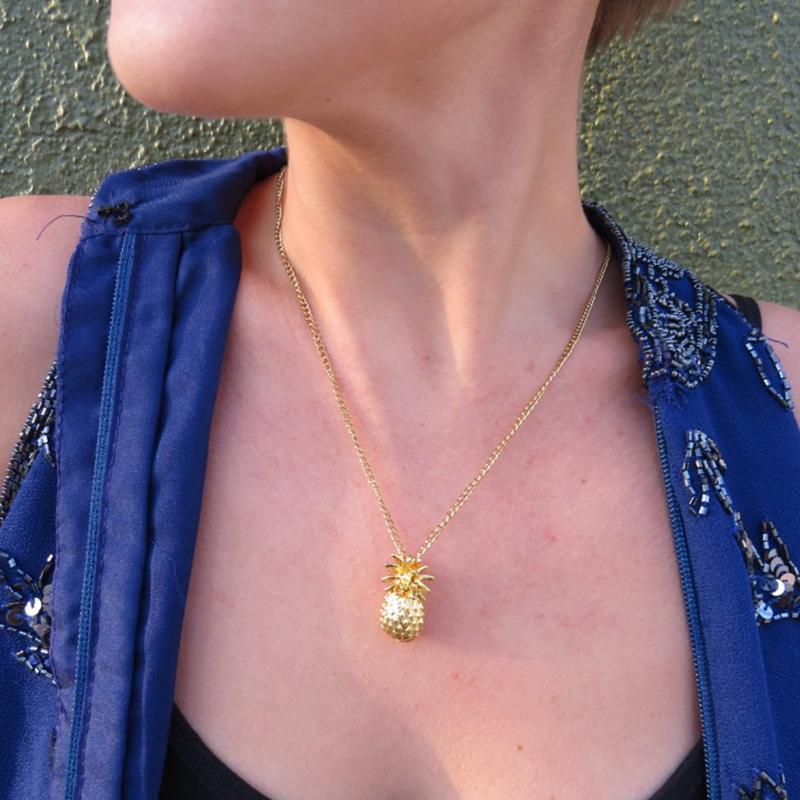 Collana pendente per accessori ananas cerchio cerchio Lariat con oro argento placcato colore catena di metallo per le donne amore regalo