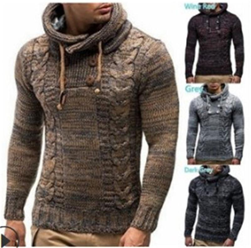 Designer High Round Hooded Collar Autumn Winter Mens Sweaters Fashion Thick Slim Fit Long Sleeved Tops Computer Knitted Sweaters