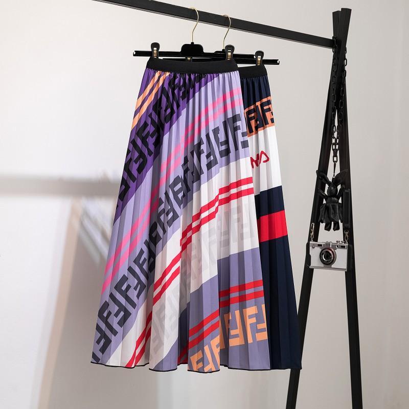 Плиссированная юбка женская лето 2020 новый модный бренд печать женская юбка все-Матч юбки Мода повседневная печать