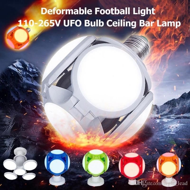 E27 LED Bulbos plegables AC85-265V 30W 5 HOJA 120leds Fútbol de fútbol Bombilla de UFO 360 grados Iluminación de alto brillo para luces de techo de la sala de bar