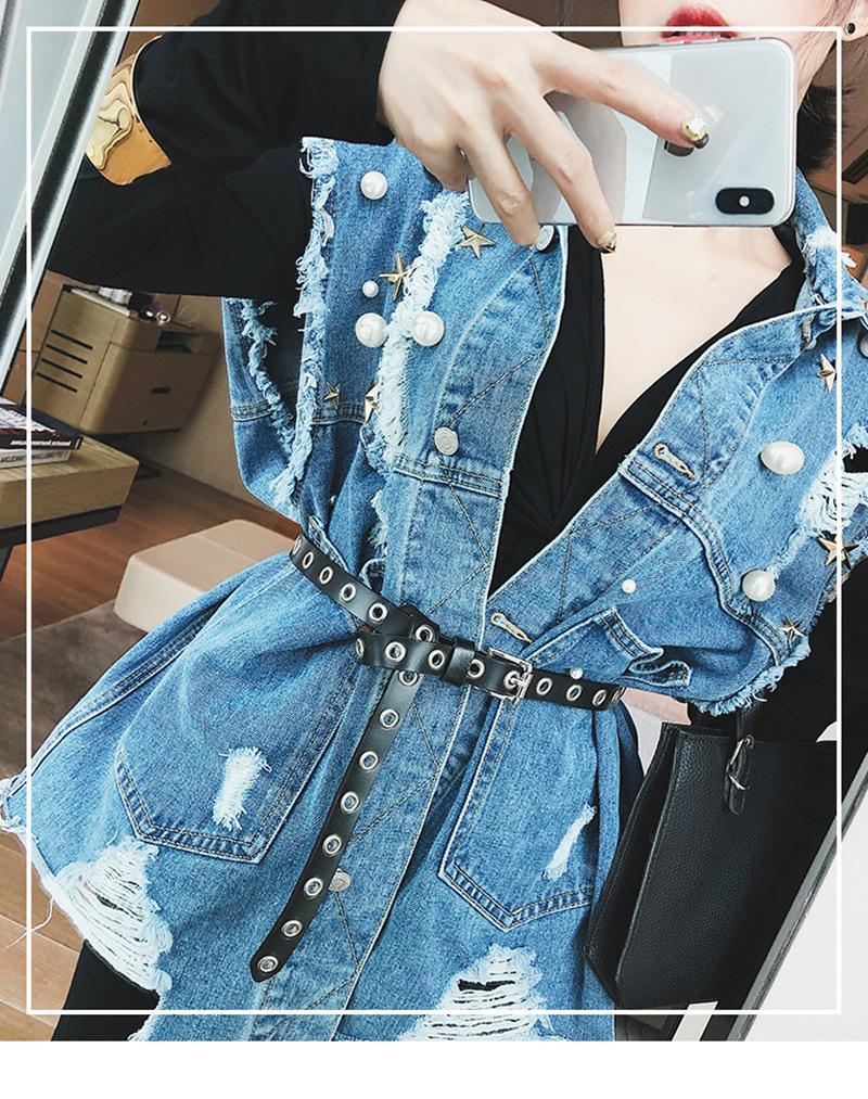 Nuove Diamanti Paillette Giacca di jeans con borchie sfilacciato Giacca di jeans Allentare risvolto singolo Giacche Breasted brevi donne del manicotto