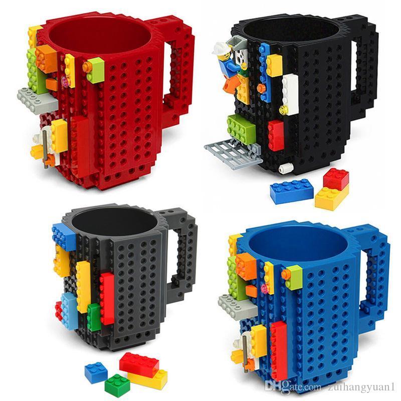 350 ملليلتر الإبداعية القهوة القدح السفر كأس الاطفال الكبار السكاكين ليغو القدح مشروب خلط كأس المائدة مجموعة للأطفال