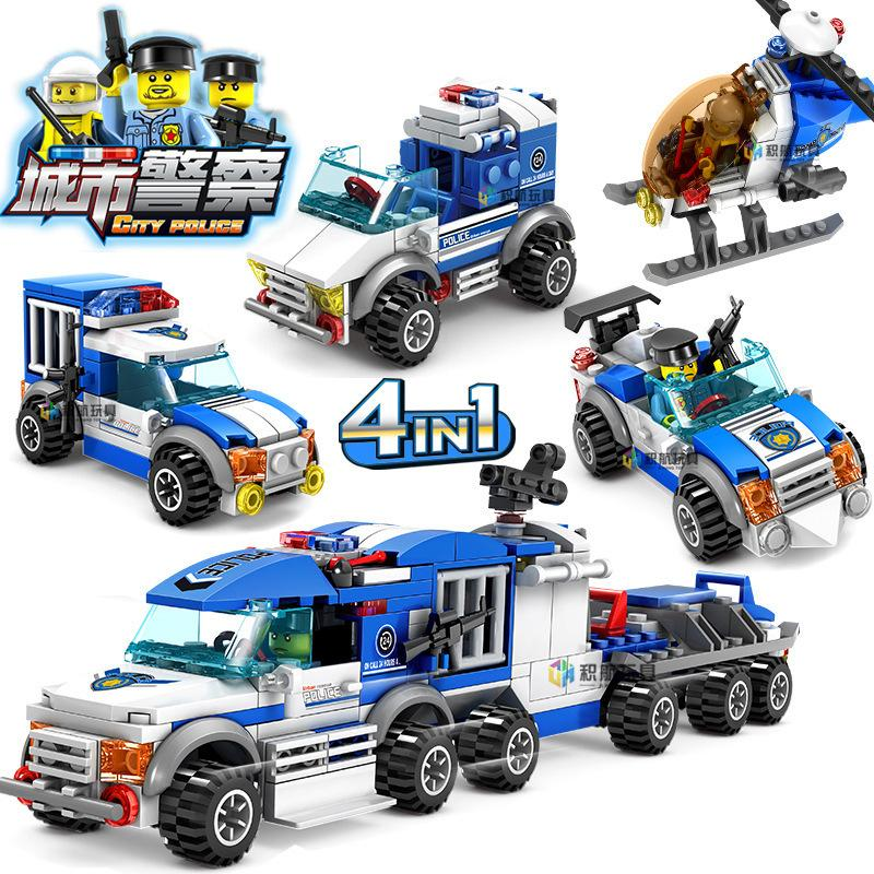 City Police Series 4 IN 1 Escort Truck Building Blocks Action Figure Bricks Helicopter Patrol Car Kids Compatible Legoing Toys