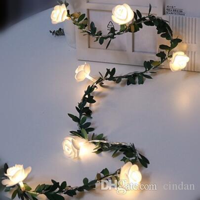 20분의 10 / 40leds 장미 꽃 요정 문자열 조명 배터리 전원 결혼식 발렌타인 데이 이벤트 파티 화환 장식 Luminaria을 주도