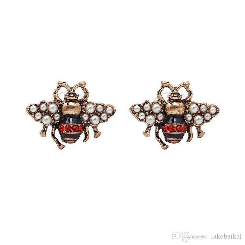 abeja de la vendimia del perno prisionero del Rhinestone de la perla linda Abeja linda pendiente regalo de amor de la manera joyería y accesorios