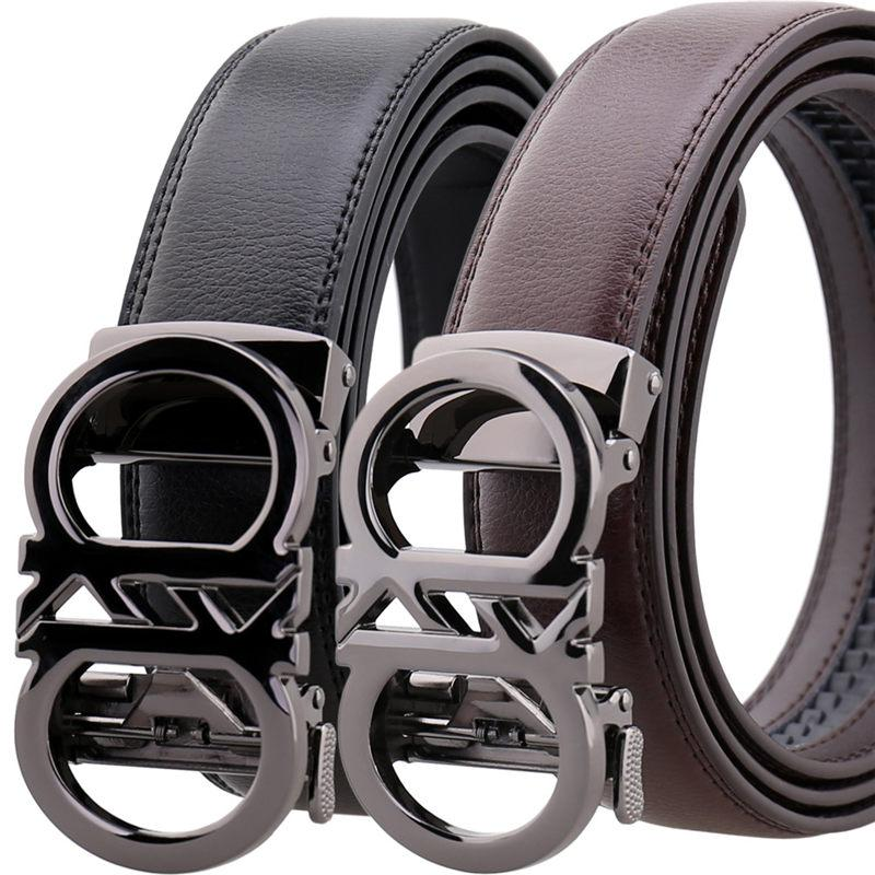 Men/'s Belt Leather Metal Business Automatic Buckle Alloy Waist Strap Waistband