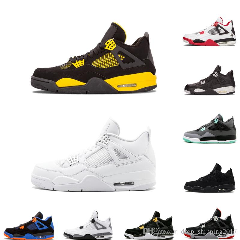 Best New 4 4s basketball shoes OG bred thunder pure money cactus jack black cat sports sneakers male trainers top quality size 7-12