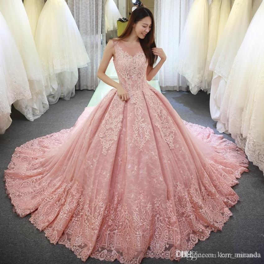 Bola de lujo rosado del vestido de quinceañera vestidos Appliques del dulce 16 Vestido con cuello redondo Vestido De Fiesta largo de tul formal Prom Vestidos DH4157