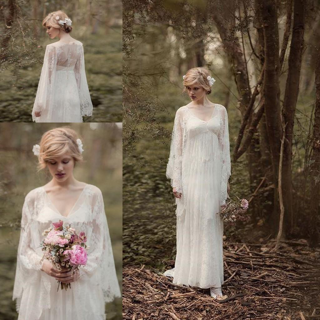 Fairy Lace Vintage Into Woods Wedding Dresses with Long Sleeve V-neck Full length Country Boho Bridal Gown Rue de Seine CG01