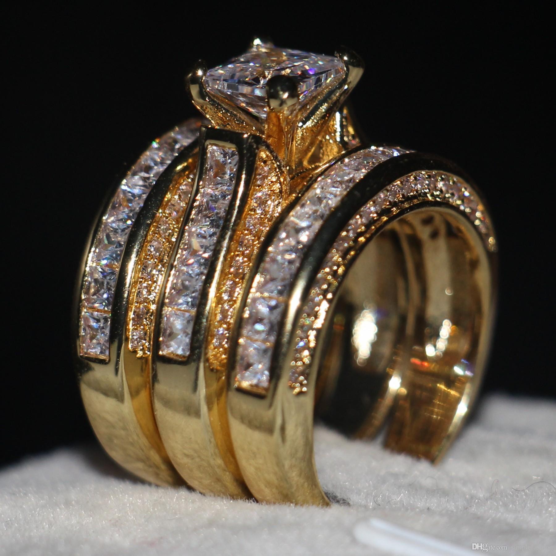 Vecalon Fashion 3-in-1 Women ring Princess cut 7mm Simulated diamond Cz Yellow Gold 925 Sterling Silver wedding Band ring Set