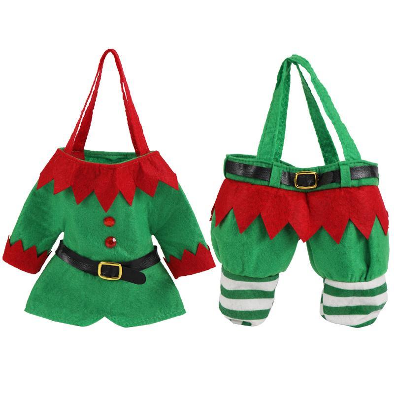 Santa Calças de Natal Pano doces Sacos Wine Stocking presentes Bottle Bag Decoração
