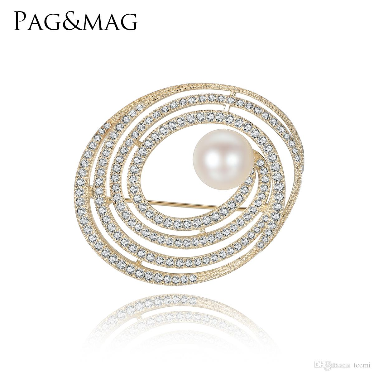 PAG&MAG New High Quality 925 Sterling Silver Pearl Brooch Jewelry for Women Small Rhinestone Crystal Elliptical Shape Pins Brooches