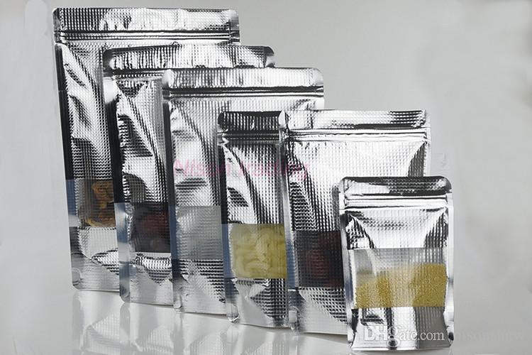 Sacchetto riutilizzabile dell'imballaggio alimentare di placcatura di placcatura di 16x24cm, 100pcs / lot Stand Up Sacchetto di chiusura lampo di plastica della finestra di goffratura d'argento del foglio di alluminio