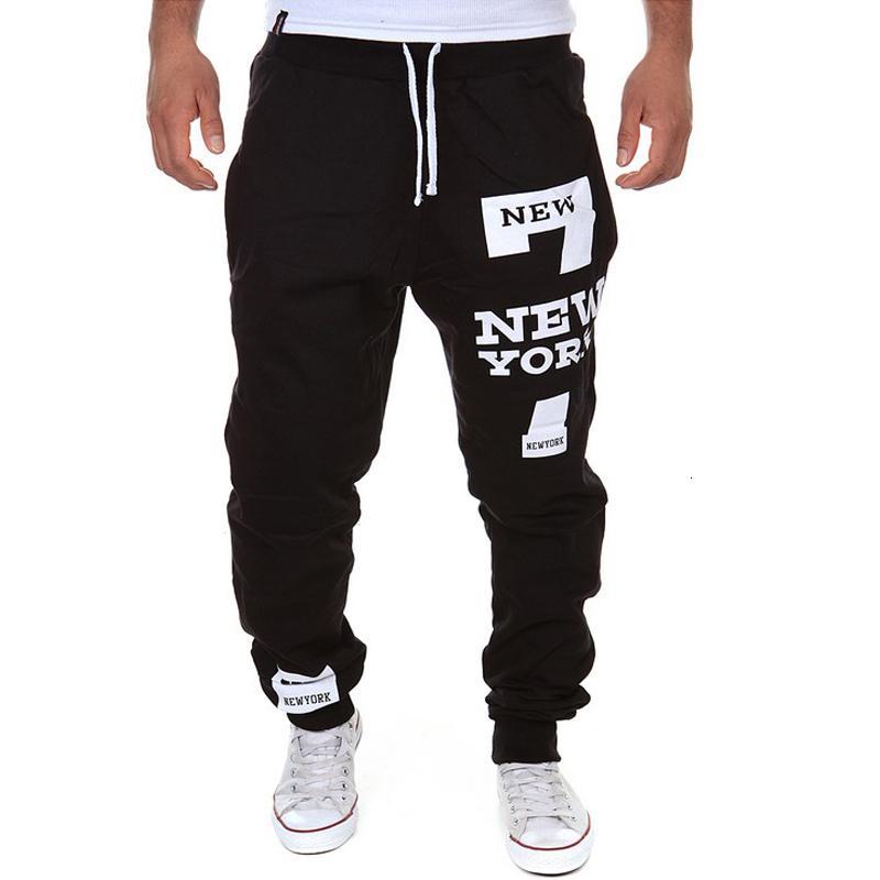 New Fashion Cool Mens Pants 7 New York Letter Print Sweatpants Joggers Male Cotton Lace-up Casual Trousers Pants Plus Size M-3xl MX190815