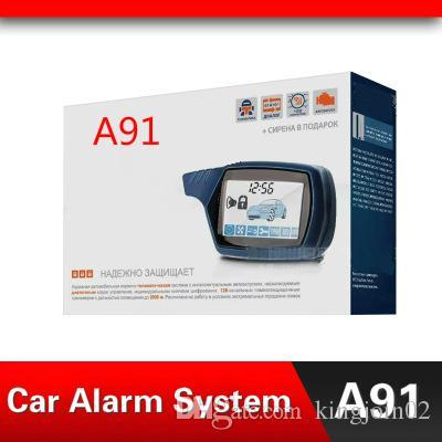 2019 Car sistema de alarme para A91 Dropshipping Two-way carro alarme contra roubo Keychain RC Anti-roubo Sistema versão russa