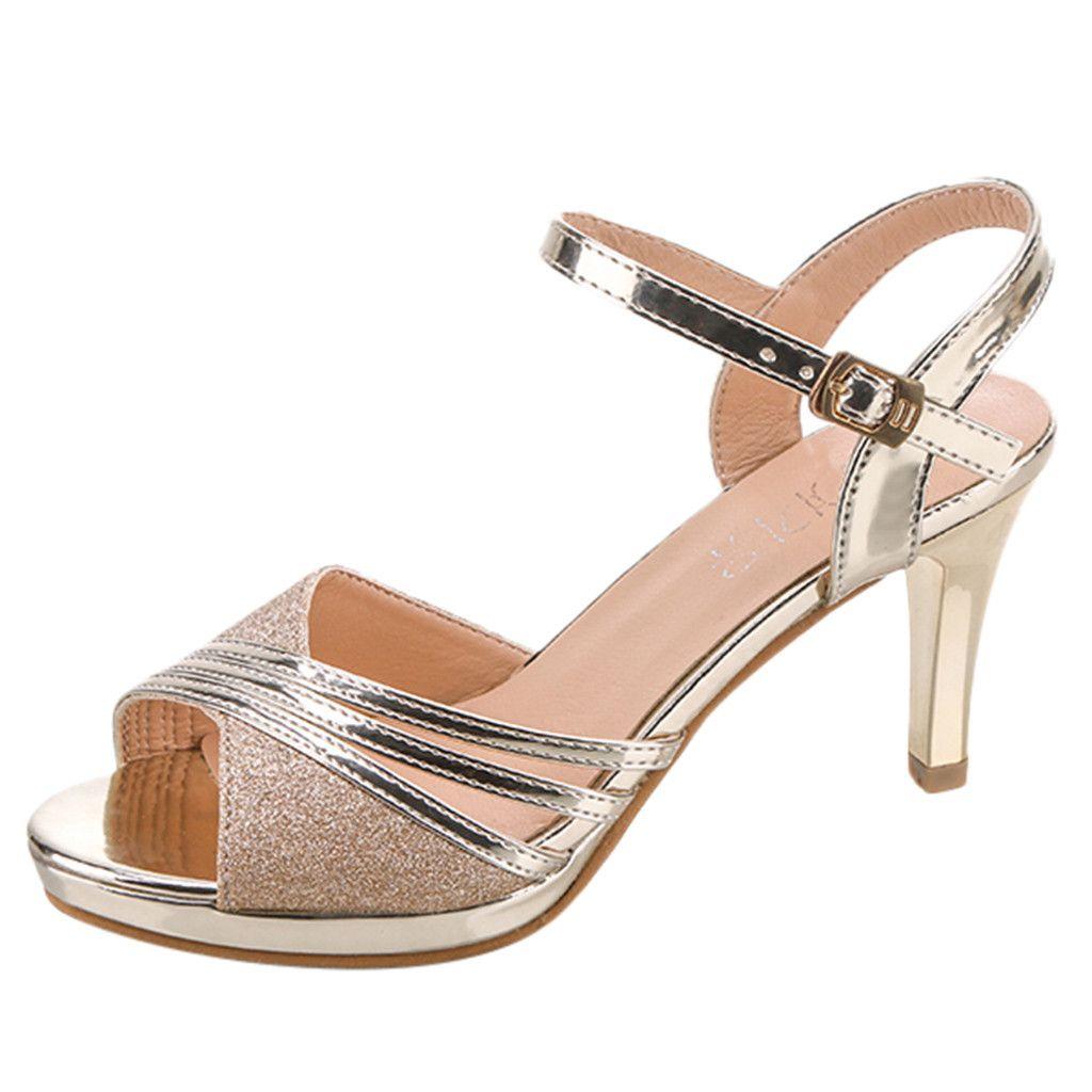 SAGACE modo sexy delle signore degli alti talloni delle donne della bocca dei pesci paillettes strass Tacchi alti sandali fibbia Dancing Shoes