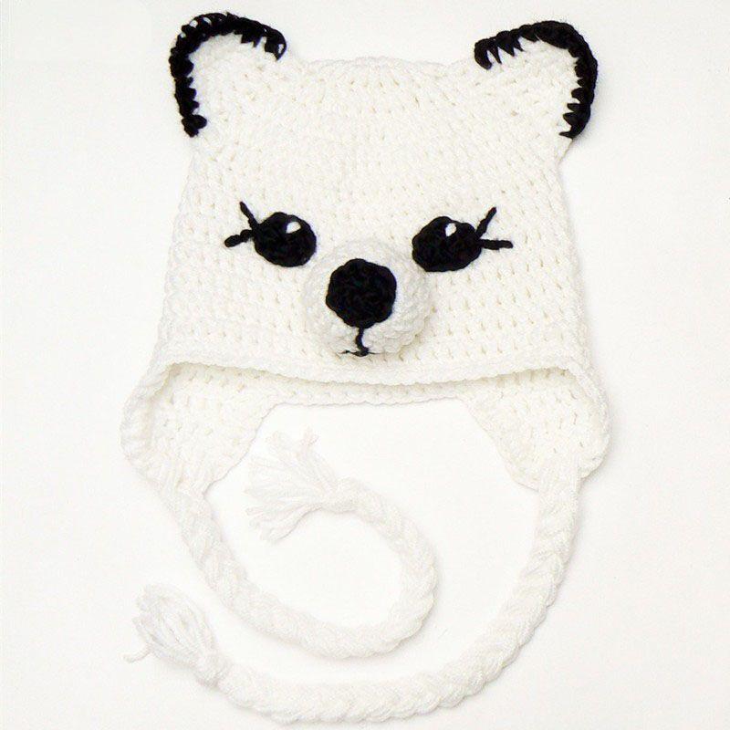 Adorable Baby Snow Fox Hat,Handmade Crochet Baby Boy Girl Animal Earflap Hat,Kids Halloween Costume,Infant Toddler Photo Prop
