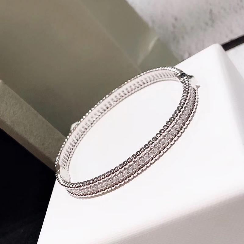 Marca Pure 925 prata esterlina jóias para as mulheres completa Pedra Fina Prata Bangle Clover Bangle Jewelry casamento em torno Beads