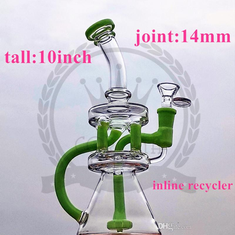 factorys Recycler Dab Rig Glass Bong Oil Rigs Water Pipe Quartz Banger Bowl heady Bongs Vortex Klein hookah pipes