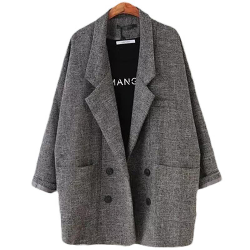 블레이저 여성 슬림핏 재킷 정장 재킷 카키 그레이 여성 플러스 사이즈 캐주얼 빈티지 정장 자켓 여성 L104 격자 무늬