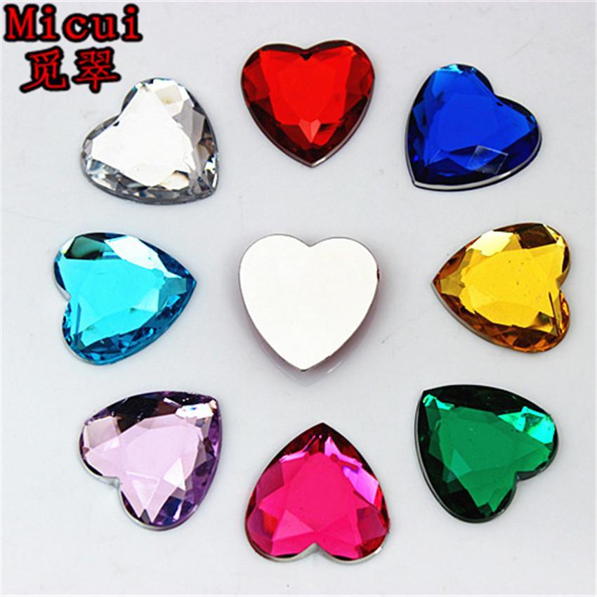 Micui 50pcs 20mm Heart Acrylic Rhinestones Flat Back Stones rhinestones Crystal for clothing crafts Decorations DIY ZZ644
