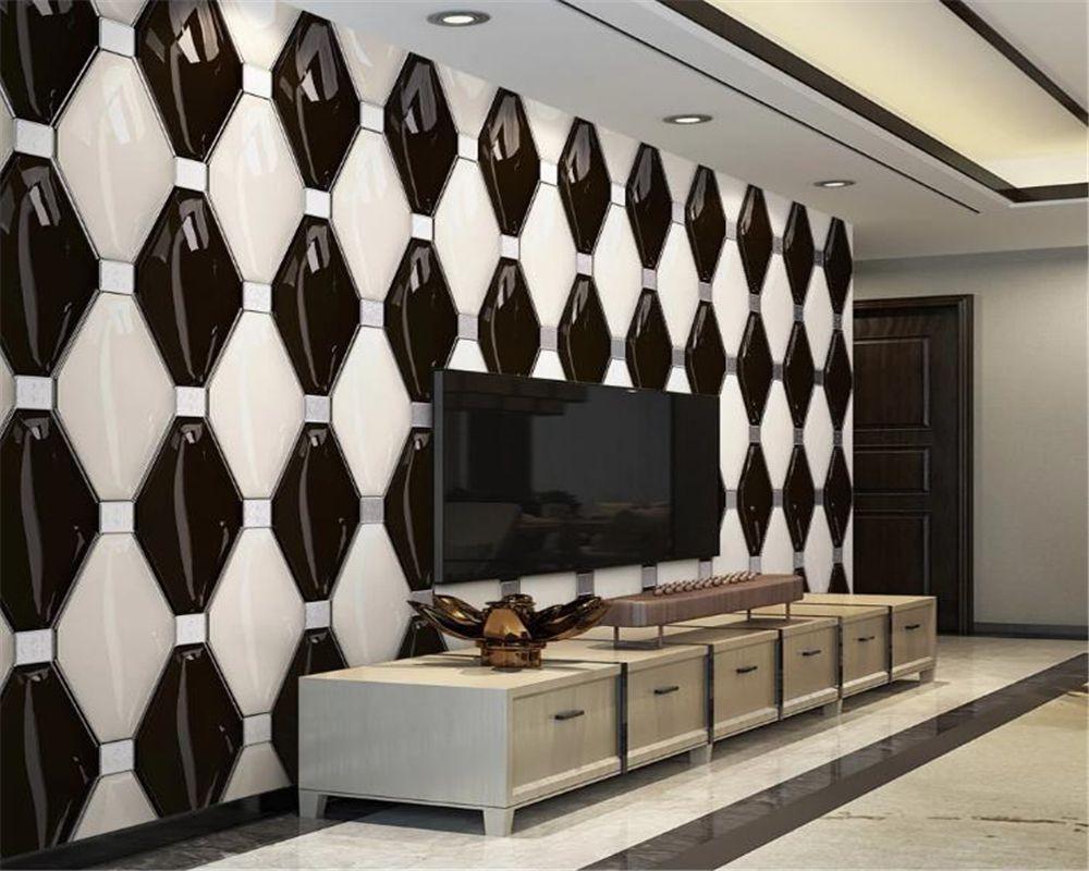 Обои домашний декор 3d черно-белая мода геометрическая фигура фон настенная живопись шелковые фрески обои