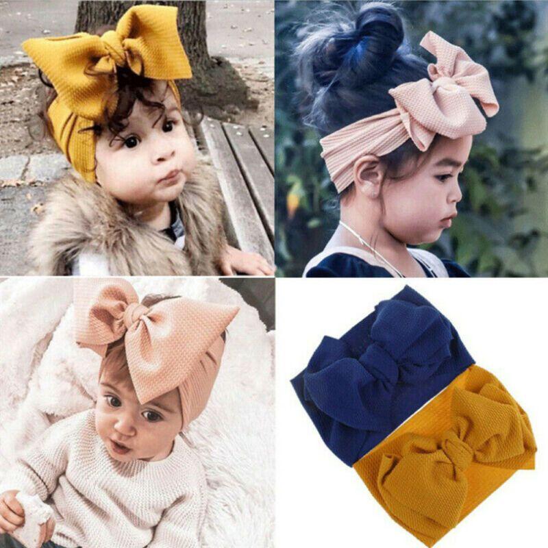 Лот 2020 горячая девочка малыш ободки с большим бантом hairband повязка простирания тюрбан обернуть голову аксессуары для волос головные уборы волос Луки
