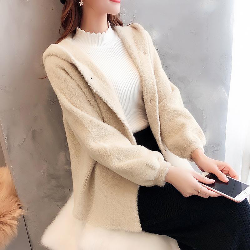 Imite el sombrero de piel Chaqueta de punto Abrigo suelto Otoño e invierno Abrigo de punto coreano
