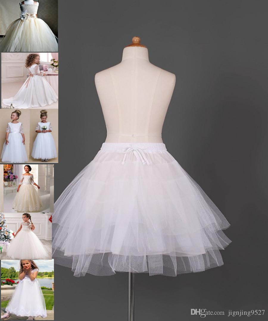 Venta caliente vestido de bola Enaguas vestido de los niños del niño de los tres círculos blancos del aro de las niñas de deslizamiento del florista de la falda del envío libre de la enagua
