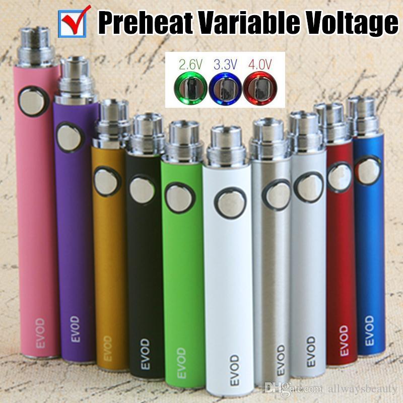 EVOD Preheat Variable Voltage Vape Pen 510 Thread Battery 650 900 1100 mAh Batteries eCigs For CE4 MT3 Ceramic Vape Cartridges