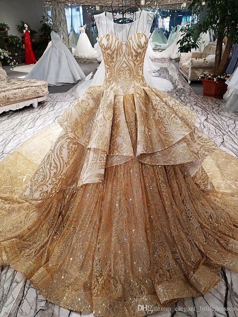 Golden Time Dubai Wedding Dresses Shiny Crystal Lace Puffy Empire Ruffles Bridal Gowns Luxury Dubai Sheer Back Abiye Casamento
