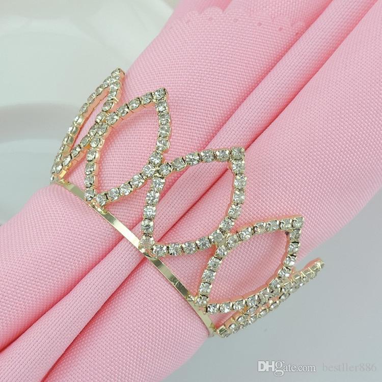 Cristallo del Strass Oro Imperial Crown Anelli di tovagliolo per bomboniera forniture da parte decorazioni per la tavola il trasporto libero