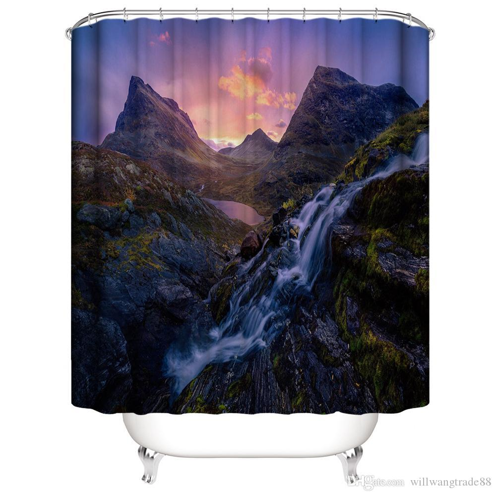 High Mountains Running Water Stream in the Sunset 3D Digital Printing Printed Waterproof Bathroom Window Shower Curtains Art With Hooks