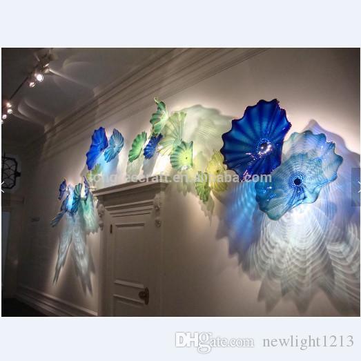Placas decorativas Lámpara Color Azul y Verde Murano Flor Decoración 100% Mano Florada Vidrio Colgando Arte