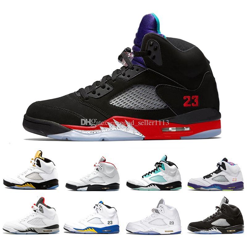 Top 3 Fire Red 5 Mens scarpe da basket alternativo Bel Isola Verde White Cement alternativo Uva 5s degli uomini di sport delle scarpe da tennis degli Stati Uniti 7-13