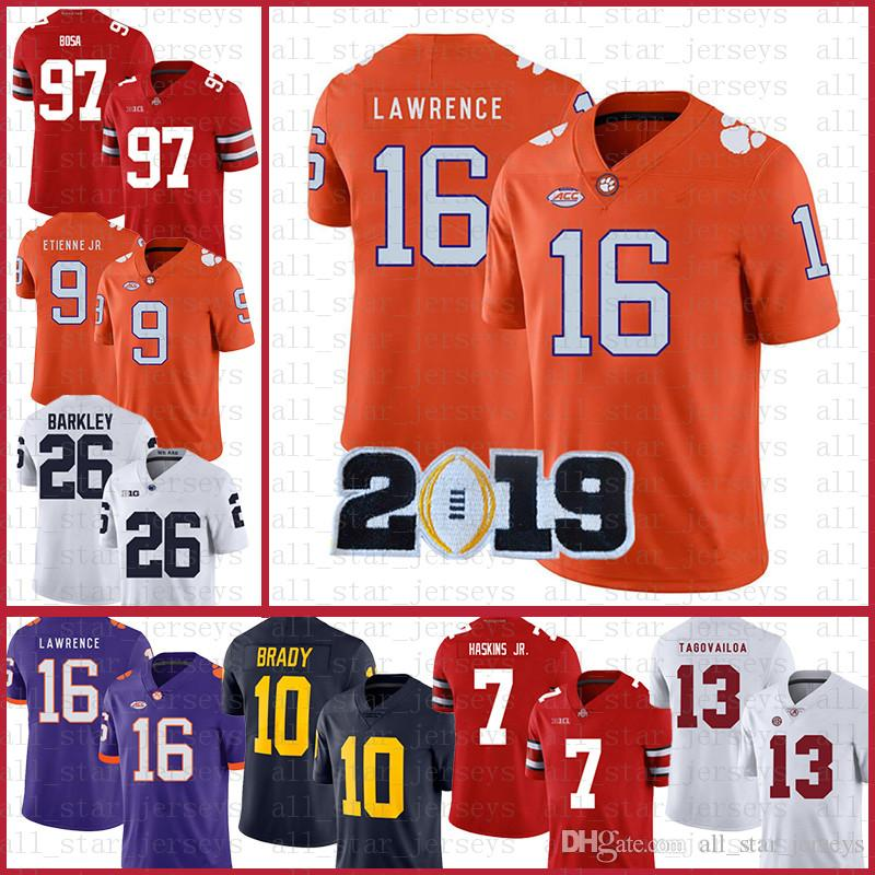 Clemson Tigers American Football Jersey 16 Trevor Lawrence 9 Travis Etienne Jr. Sport trägt NCAA-Trikots Tom Brady Saquon Barkley SVE