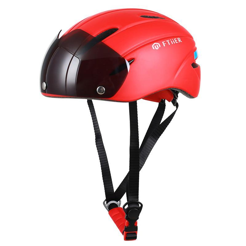 FTIIER Goggles Cycling Helmet Road Professional Racing Bike Helmets Integrally-molded Adult Matte Bicycle Helmet