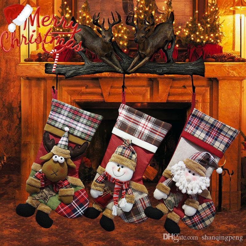 Рождественские украшения Рождественские носки подарочные пакеты дети Рождество подарочные пакеты Изысканная снеговика старый олень шаблон носки оптом